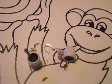 Boucle d oreille mug café noir-petite cuillère-avec en deco rayure blanc rouge