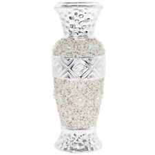 Stylish Silver Flower Vase Diamonte Bling Textured Home Decoration Ornament 19cm