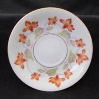 Medina by Grace Saucer Rust Flowers W/Green Leaves Gold Trim s25