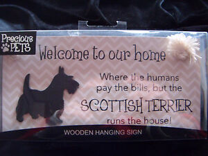Scottish Terrier wooden hanging sign, brand new in box.