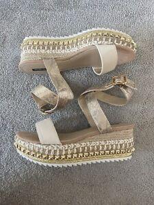Womens River Island Shoes Size 8 Wedges Espadrills Footwear Heels Nude Shoe