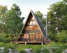 24' x 36' Modern A-Frame Cabin Architectural Plans Blueprint PDF Download