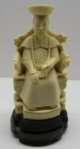 Chinese Emperor Statue Resin, Signed