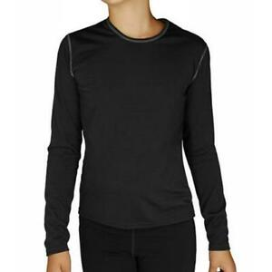 """KIDS HOT CHILLYS """"PEPPER SKINS"""" CREW NECK THERMAL BASE LAYER TOP (BLACK) LARGE"""