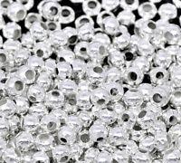 L/P: Versilbert rund Quetschperlen Perlen Beads 2.4mm