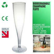 Plastic Champagne Prosecco BIODEGRADABLE Flutes Glasses Clear 175ml - UK MADE