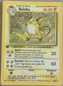 POKEMON Card GERMAN BASE SET 1st Edition RAICHU #14/102 Black Star Rare Holo NM