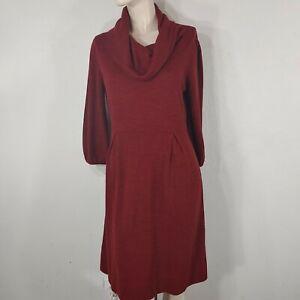new directions sweater dress dark red size 14 cowl neck puff sleeves dart waist