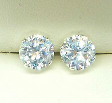 SILVER STUD EARRINGS 925 ROUND 8MM CLEAR DIAMOND LAB-CREATED STONE sk941