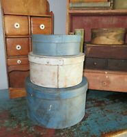 Stack of 3 Antique Pantry Box-Paint-Shaker-Firkin-Blues-Paint-Primitive