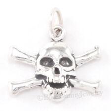 PIRATE SKULL Charm CROSS BONES Sterling Silver Jewelry Pendant Halloween 925