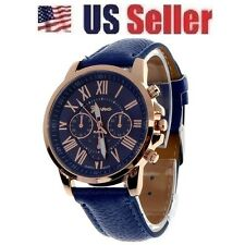 NEW LUXURY BLUE FASHION CASUAL NUMERALS LEATHER ROMAN UNISEX ANALOG QUARTZ WATCH