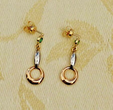 Solid-Yellow, White & Pink 'Three  18K GOLD'  Dangle Earrings with Round Emerald