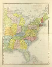 Large Map of America East Coast c1840 by S Hall engraved colour, united states