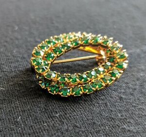 Emerald Colored Rhinestones Double Oval Pin Brooch 1.5 Inches Safety Catch