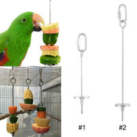 "4.7""/8.6"" Stainless Steel Skewer Toy Treat Bird Parrot Food Fruit Holder Stick"