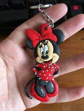 Minnie red bowknot silica gel key chain key chains action key ring anime cute