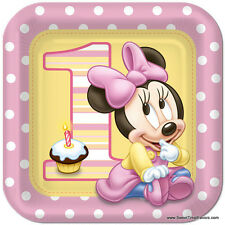 Minnie Mouse Baby PLATES LUNCH 1st First Birthday Decoration Party Supplies Pink