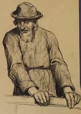 MATTHÄUS SCHIESTL - Alter Mann mit Hut - Kohlezeichnung & Pastell 1915