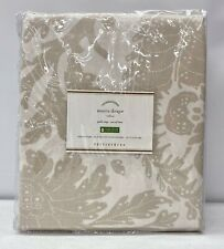 "NEW Pottery Barn Maris Print Cotton 50"" x 108"" Drapes Curtains~SET OF 2~Flax"