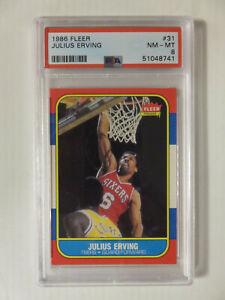 1986 86 Fleer Basketball No.31 Julius Erving Dr. J Card PSA 8 Philly 76ers