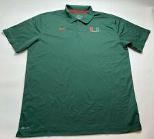 Nike Dri Fit Mens Green Miami Hurricanes Short Sleeve Golf Polo Shirt Size XXL