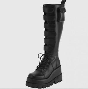 Women Buckle Round Toe Punk Knight Goth Heel Shoe Platform Wedge Knee High Boots