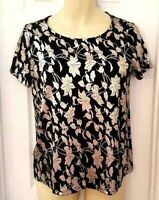VERO MODA Womens Top Size Medium Gold Shimmery Floral Shirt Black Stretchy New