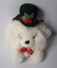 "RUSS ROUND SNOW-BALL TEDDY BEAR MR CHRISTMAS PLUSH Soft TOY 5"", 8"" inc Hat E"