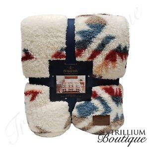 Pendleton Sherpa Fleece Blanket Aztec Southwest Throw Queen White Sands 98 x 92