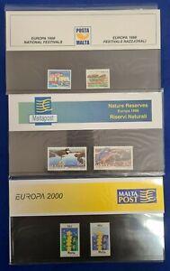 1998-2000 Malta 3 x mint presentation packs EUROPA MNH + Original Cover