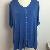 Cato Misses XL Blue scoop neck button front tunic Button front button sleeve R