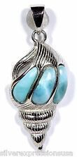 Genuine AAA Dominican Larimar Inlay 925 Sterling Silver Sea Shell Pendant