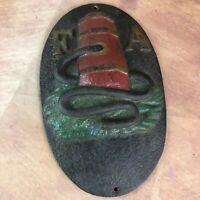 Vintage Cast Iron Fire Association Insurance Fire Hydrant Plaque FAI