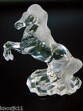 """Lenox Free Spirit Rearing CRYSTAL HORSE FIGURINE 8"""" Stallion Frosted Clear Glass"""