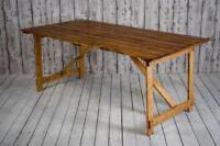 6ft x 3ft Wide Vintage Pine Trestle Kitchen Dining Wedding Hire Table (inc VAT)