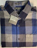Eddie Bauer Mens Blue/Gray Checkered Flannel L/S Classic Fit Shirt Medium New!
