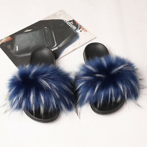 Faux Fur Slides Anti-Slip Fuzzy Fluffy Slippers Flat Soft Home Sandals Open Toes