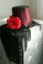 Gothic Top Hat Corset Red Black Lace Baroque Steampunk