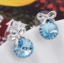 Fashion Women Bow Jewelry Blue Rhinestone Crystal Ear Stud Earrings Family Gift