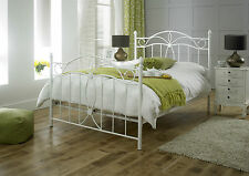 NEW Modern Grand Canterbury Double Metal Bed Frame in Ivory White