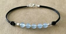 Silver Plated, Friendship Bracelet Faceted Brazilian Aquamarine, Leather Cord,