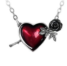 WOUNDED BY LOVE Red Heart and Black Rose Pendant by Alchemy + FREE VELVET POUCH