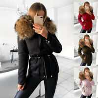 Winter Women Down Jacket Faux Fox Fur Hooded Short Parka Padded Coat Outwear New