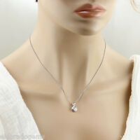 """HIGH END 1.25 CT. PEAR/ROUND DIAMOND PENDANT STYLE NECKLACE 18K WHITE GOLD 18"""""""
