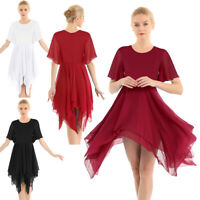 Women's Elegant Asymmetrical Chiffon Dance Dress Costumes Praise Dance Ballroom