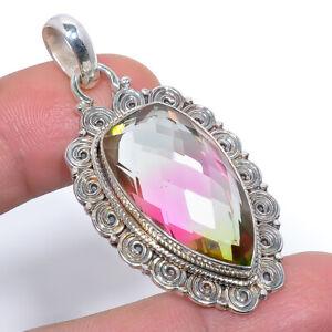 "Bi Color Tourmaline Gemstone 925 Sterling Silver Bali Pendant 1.87"" M1576"