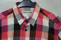 Men's JACK JONES Casual Short Sleeve Check Cotton Shirt Size M Medium