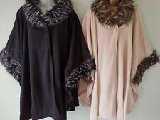 Womens Faux Fur Fleece Cape wrap coat jacket Ostrich Fur Black Cream One Size