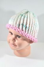 White Pink Green Yellow Hand Knit Hat Beanie Toddler Child 100% Acrylic